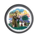 St Francis 2F - Two Shelties Wall Clock