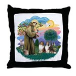St Francis 2F - Two Shelties Throw Pillow