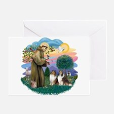 St Francis 2F - Two Shelties Greeting Card