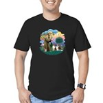 St Francis 2F - Two Shelties Men's Fitted T-Shirt