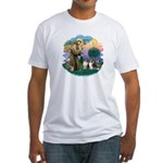 St Francis 2F - Two Shelties Fitted T-Shirt