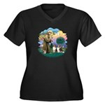 St Francis 2F - Two Shelties Women's Plus Size V-N