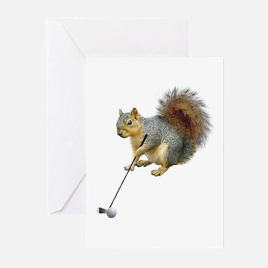 Golfing Squirrel Greeting Cards (Pk of 20)