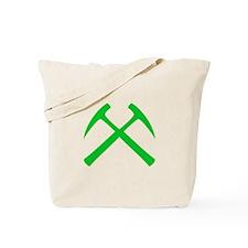 Crossed Rock Hammers (green) Tote Bag