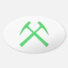 Crossed Rock Hammers (green) Decal