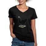 Jersey Giant: Black Hen Women's V-Neck Dark T-Shir