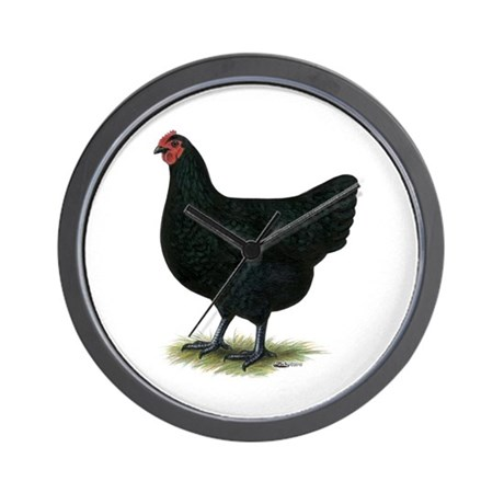 Jersey Giant: Black Hen Wall Clock