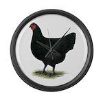 Jersey Giant: Black Hen Large Wall Clock