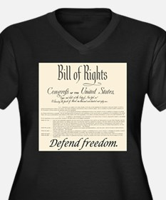 Bill of Rights Women's Plus Size V-Neck Dark T-Shi