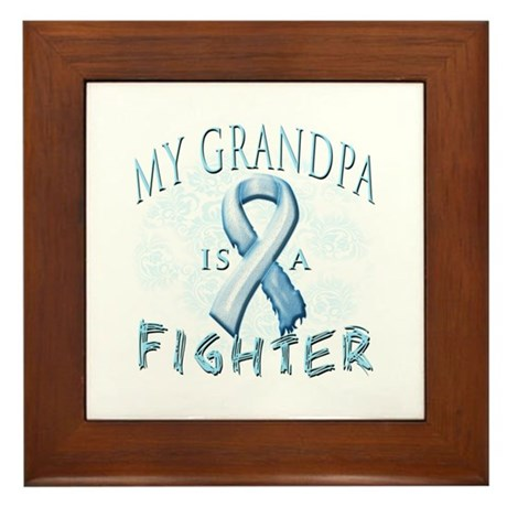 My Grandpa Is A Fighter Framed Tile