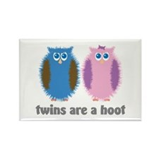 Twin Boy and Girl Owls Rectangle Magnet