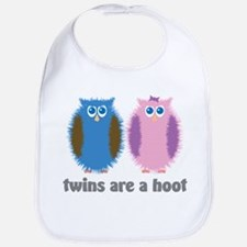 Twin Boy and Girl Owls Bib