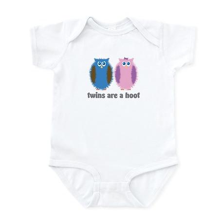 Twin Boy and Girl Owls Infant Bodysuit