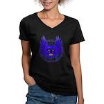 BLUE SKULL 13 Women's V-Neck Dark T-Shirt