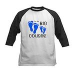 Big Cousin Baby Footprints Kids Baseball Jersey