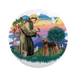 St Francis #2/ Airedale Ornament (Round)