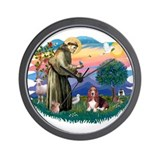 Basset hound st francis Wall Clocks