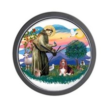 St Francis #2/ Basset Hound Wall Clock