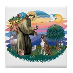 St Francis #2/ Boxer (nat ears) Tile Coaster