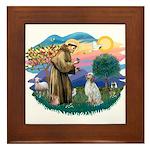 St Francis #2/ English Set. Framed Tile