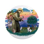 St Francis #2/ Fox Terrier Ornament (Round)