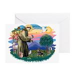 St Francis #2/ Dachshund (BT) Greeting Cards (Pk o