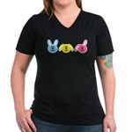 Bunnies Women's V-Neck Dark T-Shirt