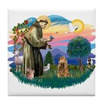 St Francis #2/ Cocker (brn) Tile Coaster