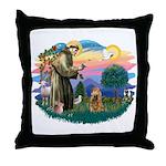 St Francis #2/ Cocker (brn) Throw Pillow