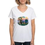 St Francis #2/ Cocker (brn) Women's V-Neck T-Shirt