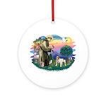 St Francis #2/ Eng Bulldog Ornament (Round)