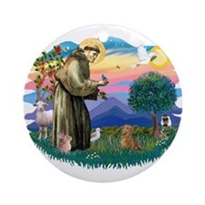 St Francis #2/ Dachshund (red) Ornament (Round)