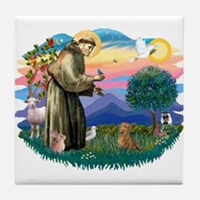 St Francis #2/ Dachshund (red) Tile Coaster