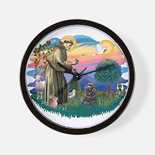 St Francis #2/ Cocker (blk) Wall Clock