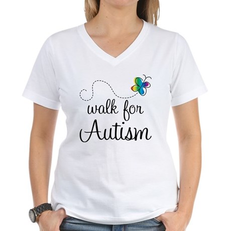 Butterfly Walk For Autism Women's V-Neck T-Shirt