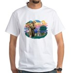 St Francis #2/ Poodle (Std S) White T-Shirt