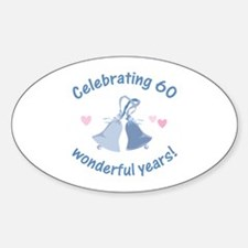 60th Anniversary Bells Sticker (Oval)