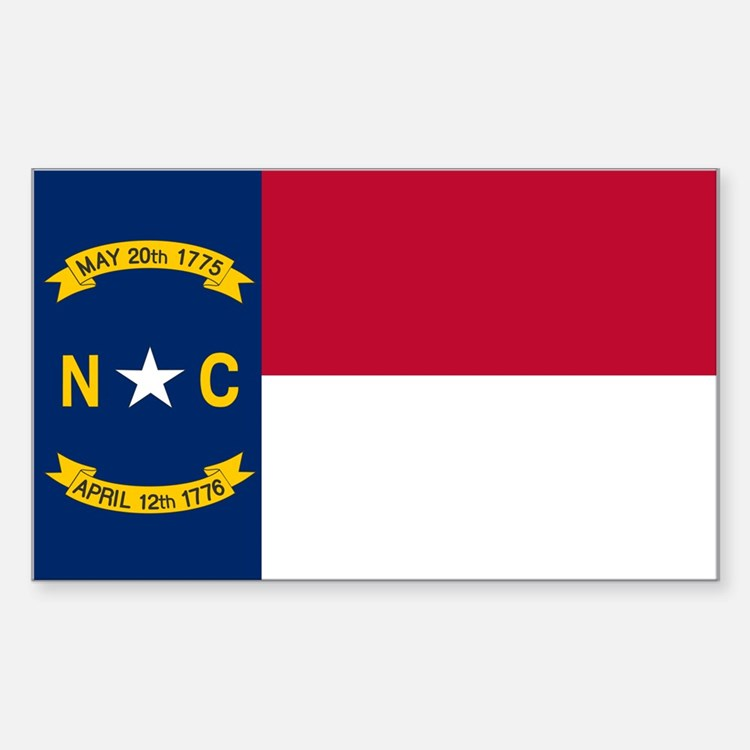 North Carolina Flag Sticker (Rectangle)