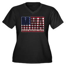 USA MMA Women's Plus Size V-Neck Dark T-Shirt