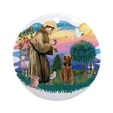 Airedale st francis Round Ornaments