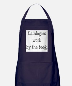 Catalogers work by the book. Apron (dark)