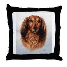 Dachshund Red Longhair 1 Throw Pillow