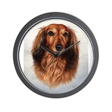 Dachshund Red Longhair 1 Wall Clock