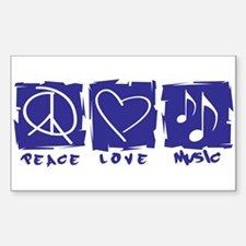 Peace.Love.Music Sticker (Rectangle)