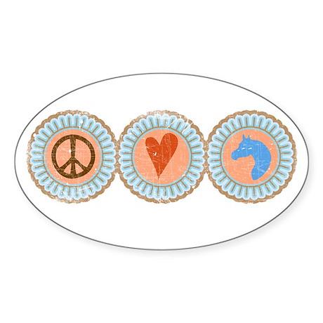 Peace, Love & Horses Sticker (Oval)