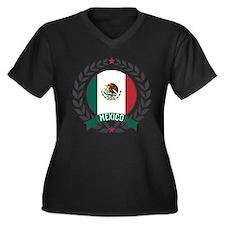 Mexico Wreath Women's Plus Size V-Neck Dark T-Shir