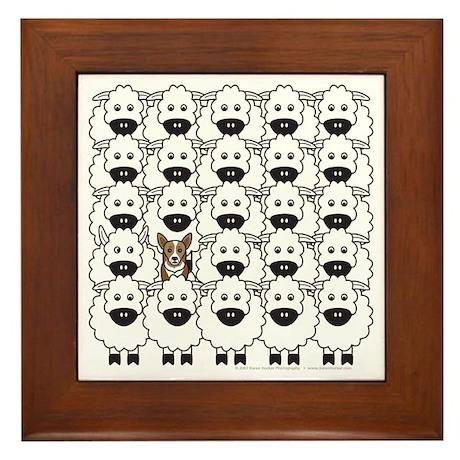 Corgi in Sheep Framed Tile