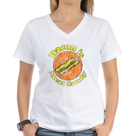 Vintage Bacon is Meat Candy Women's V-Neck T-Shirt