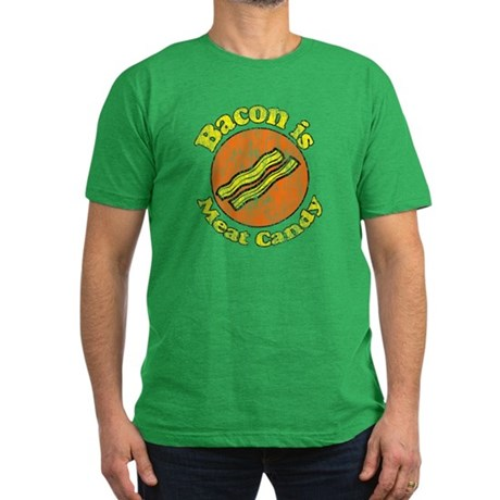 Vintage Bacon is Meat Candy Men's Fitted T-Shirt (