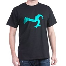 pushing skater cyan dark t-sh T-Shirt